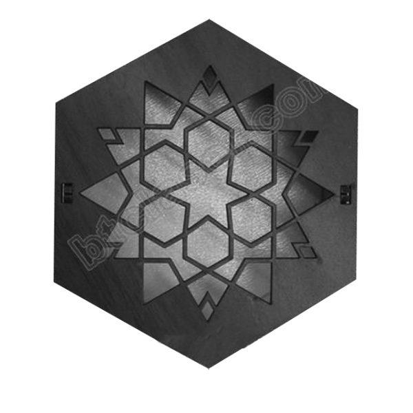 جعبه چوبی شش ضلعی طرح ستاره کد 610